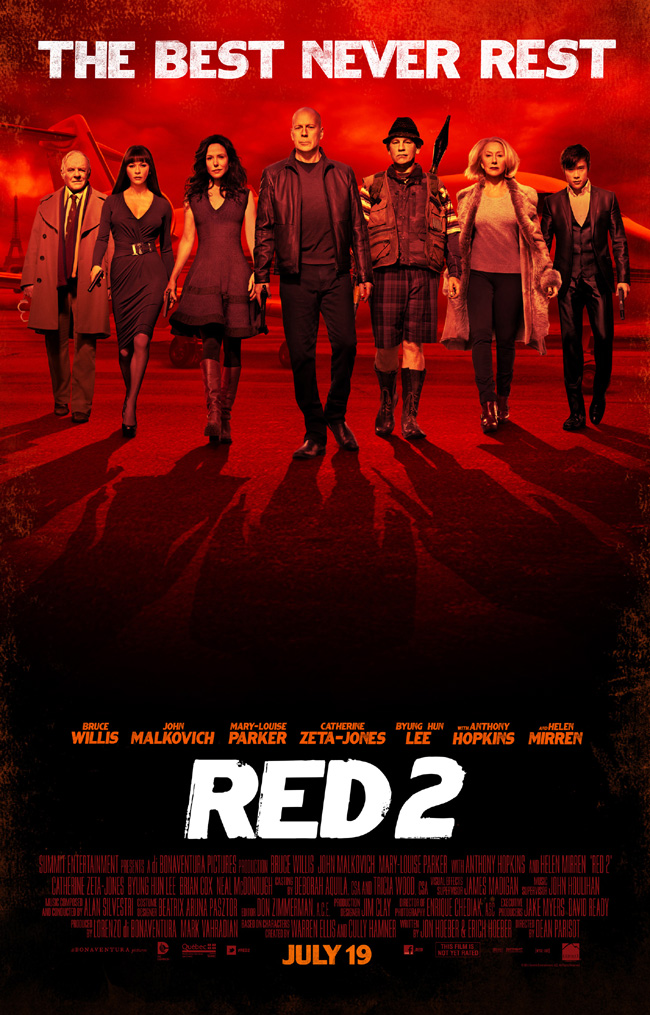 The movie poster for Red 2 with Bruce Willis, John Malkovich, Helen Mirren, Anthony Hopkins and Catherine Zeta-Jones