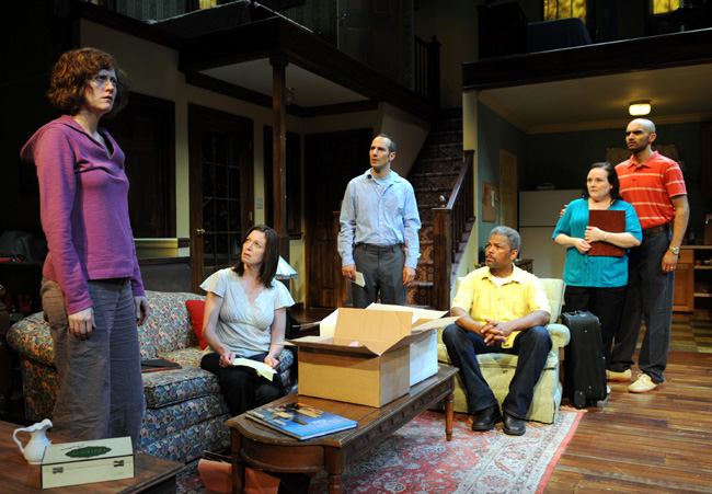 From left: Wendi Weber plays Marlene, Laura T. Fisher is Beth, Daniel Cantor plays Ron, Dexter Zollicoffer is Arthur, Penny Slusher plays Jan and Usman Ally porrays Yousef in Relatively Close