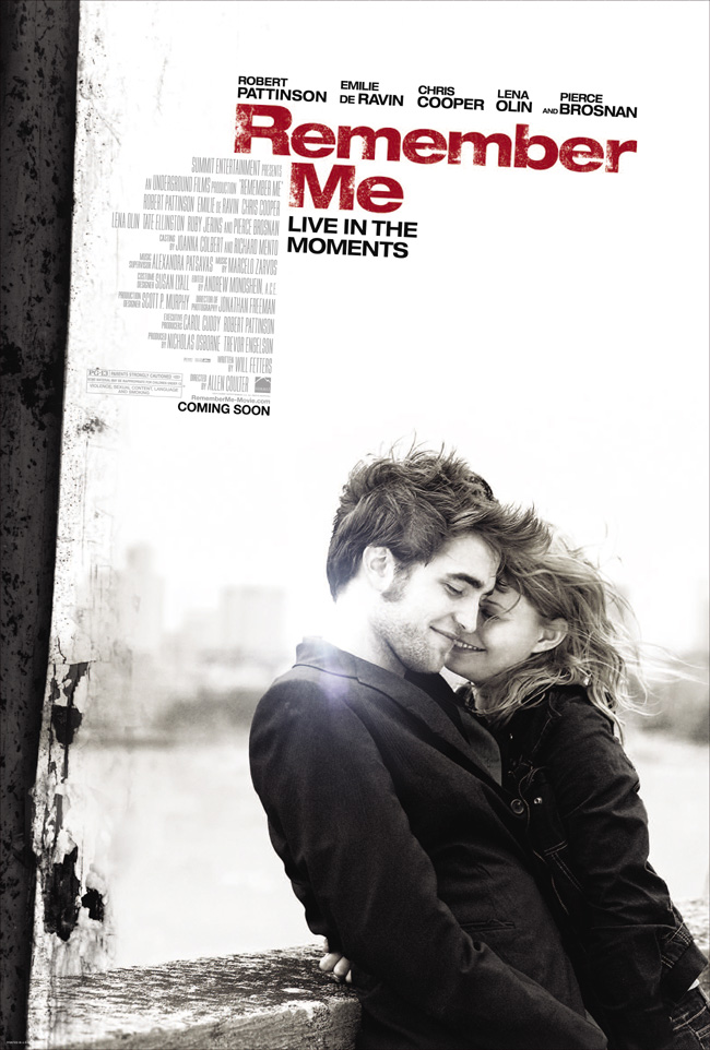 The movie poster for Remember Me with Robert Pattinson and Emilie de Ravin