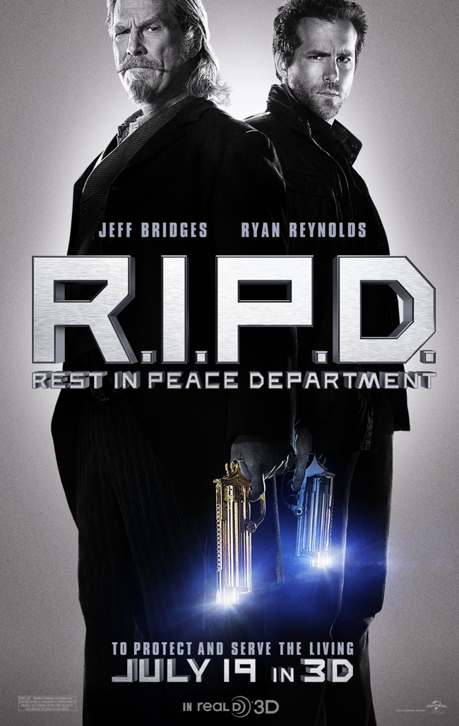 The movie poster for R.I.P.D. starring Ryan Reynolds and Jeff Bridges