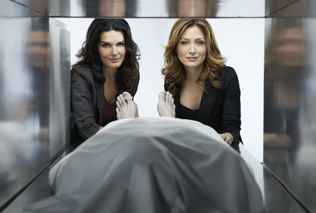 Angie Harmon (left) and Sasha Alexander on TNT's Rizzoli and Isles