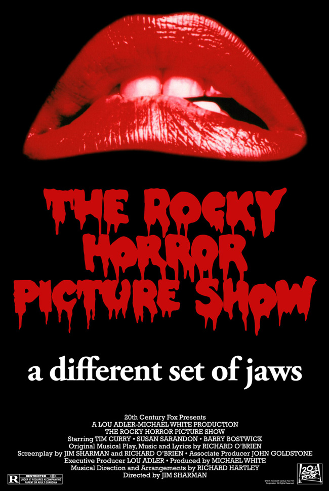 The poster for The Rocky Horror Picture Show with Tim Curry and Susan Sarandon