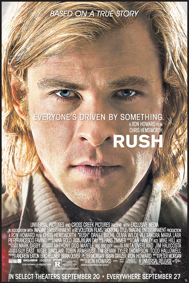 The movie poster for Rush starring Chris Hemsworth from Ron Howard