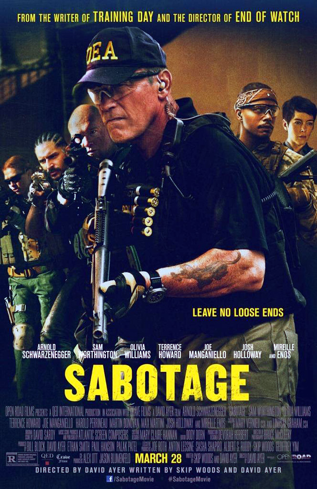 The movie poster for Sabotage with Arnold Schwarzenegger, Sam Worthington and Terrence Howard