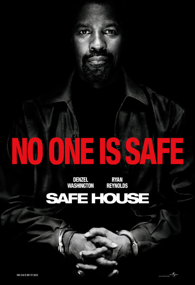 The movie poster for Safe House starring Denzel Washington and Ryan Reynolds