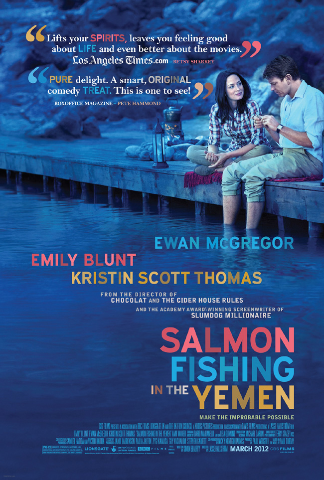 The movie poster for Salmon Fishing in the Yemen starring Ewan McGregor and Emily Blunt