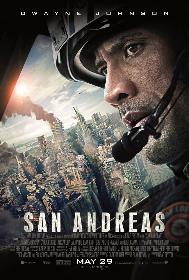The movie poster for San Andreas starring Dwayne Johnson and Paul Giamatti