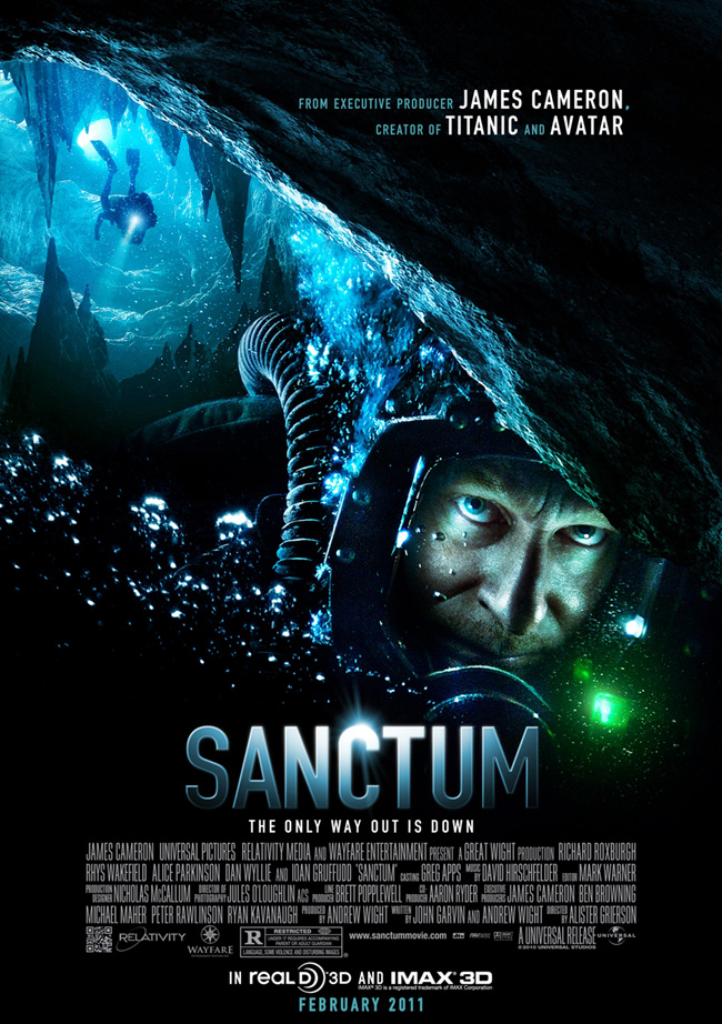 The movie poster for Sanctum from Avatar and Titanic creator James Cameron