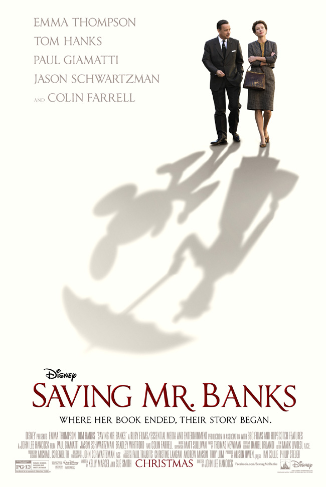 The movie poster for Saving Mr. Banks starring Emma Thompson and Tom Hanks