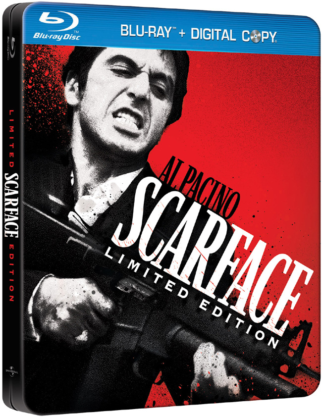 The Blu-ray for Scarface with Al Pacino and Michelle Pfeiffer