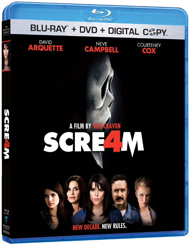 The Blu-ray for Wes Craven's Scream 4 with Neve Campbell, Courteney Cox and David Arquette