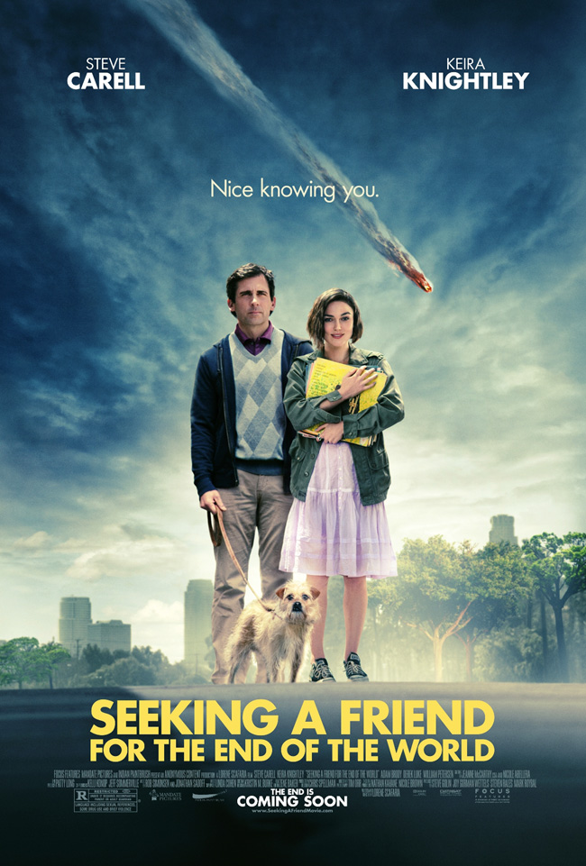 The Seeking a Friend for the End of the World movie poster with Keira Knightley and Steve Carell