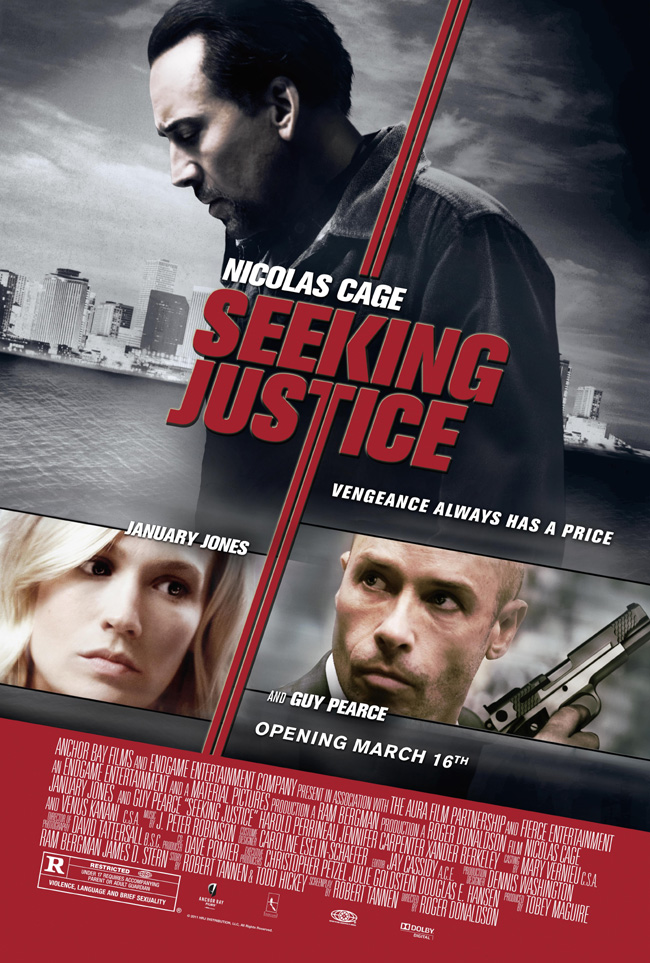 The movie poster for Seeking Justice starring Nicolas Cage, January Jones and Guy Pearce