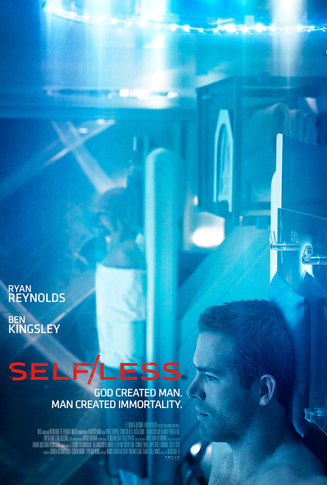 The movie poster for Self/less starring Ryan Reynolds and Ben Kingsley