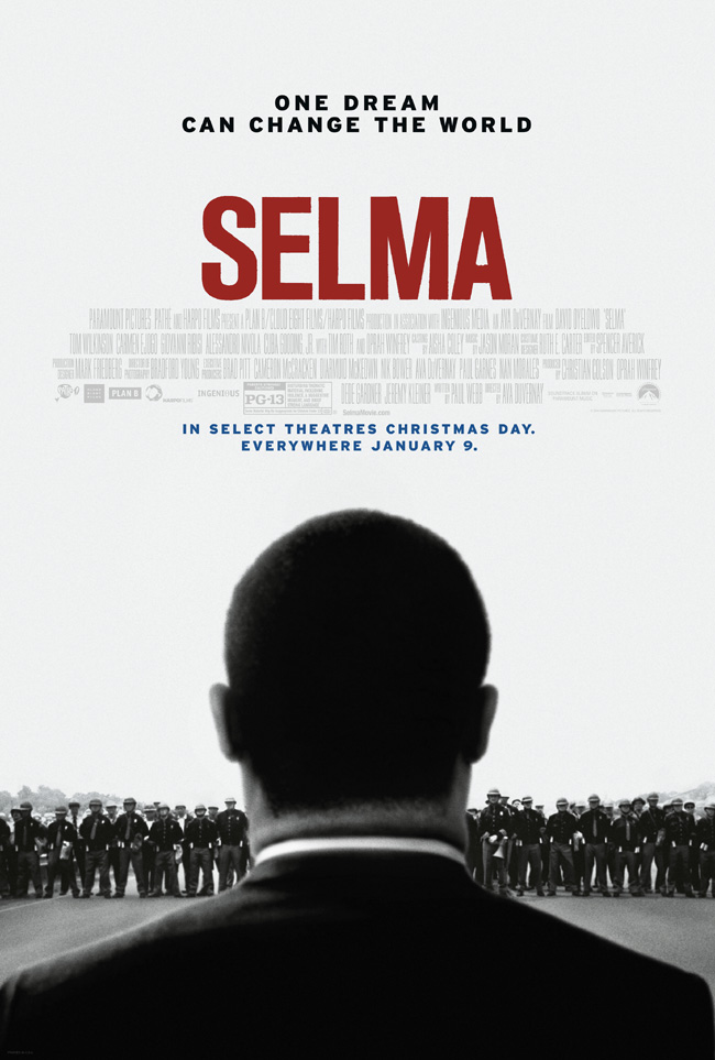 The movie poster for Selma on Dr. Martin Luther King Jr. starring David Oyelowo