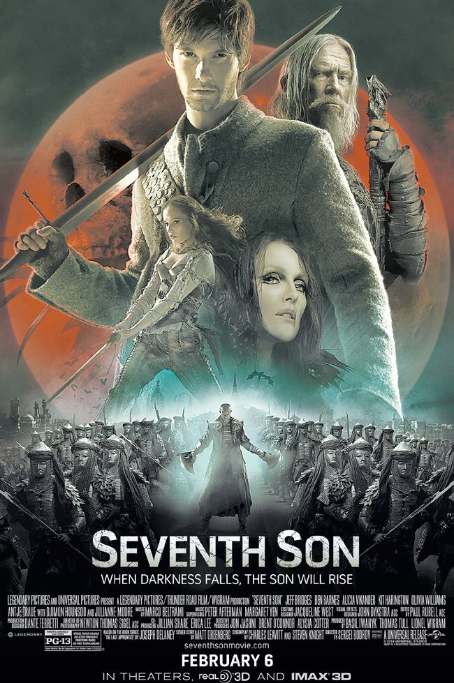The movie poster for Seventh Son starring Ben Barnes, Julianne Moore and Jeff Bridges
