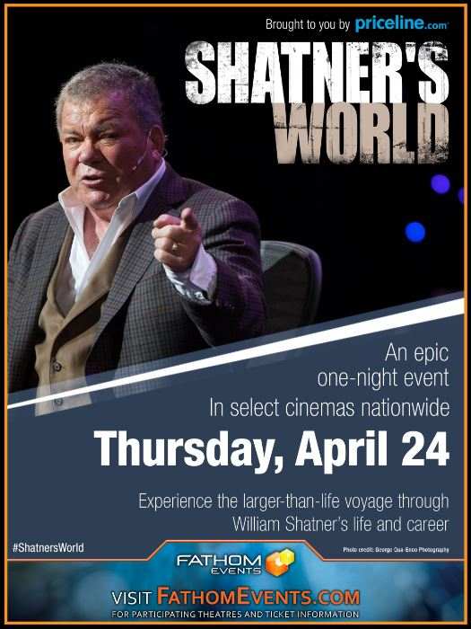 The event poster for Shatner's World starring William Shatner