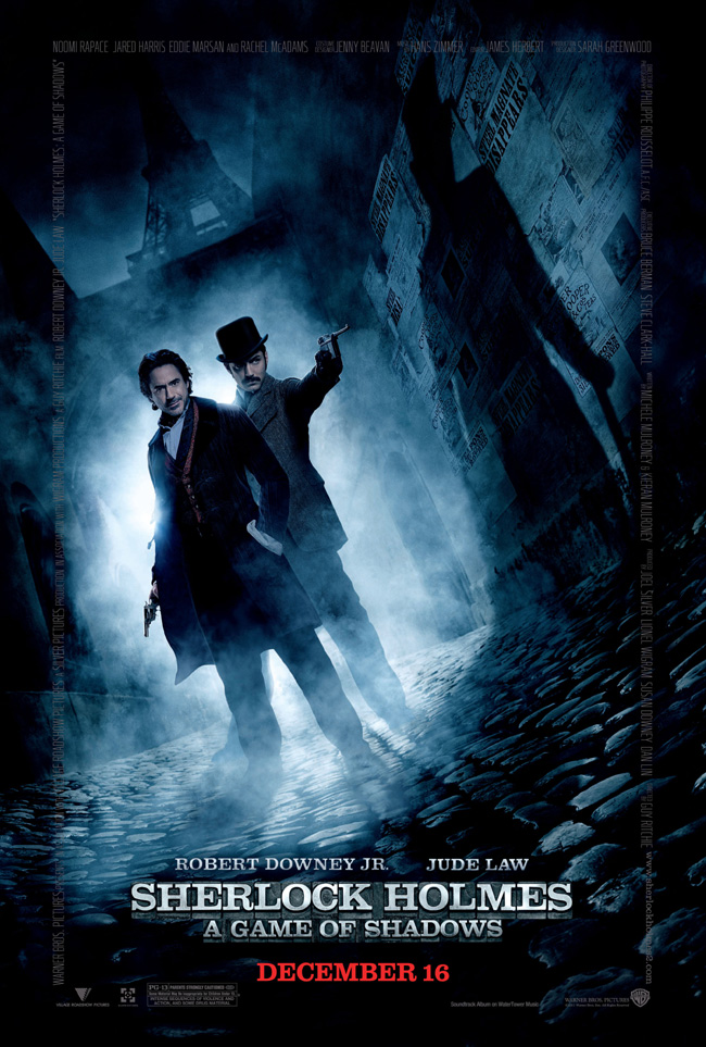 The movie poster for Sherlock Holmes: A Game of Shadows with Robert Downey Jr. and Jude Law