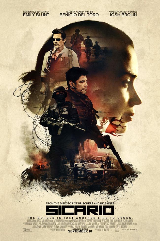 The movie poster for Sicario starring Emily Blunt and Benicio Del Toro