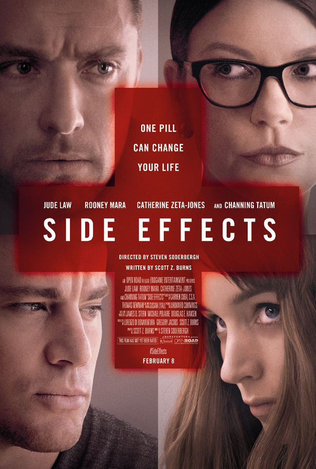 The movie poster for Side Effects starring Channing Tatum and Jude Law