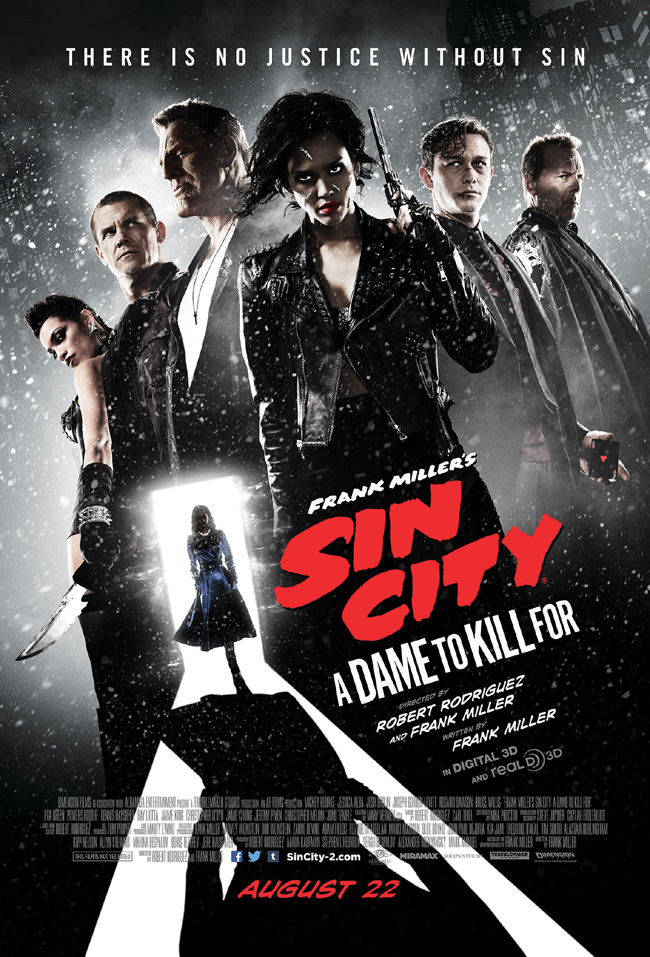 The movie poster for Sin City: A Dame to Kill For from Frank Miller and Robert Rodriguez