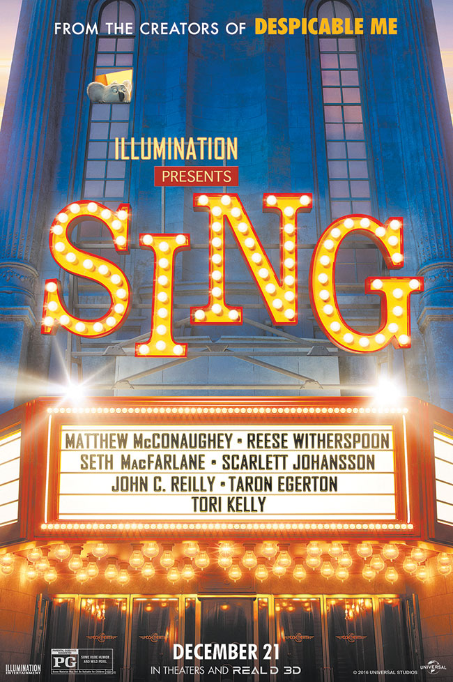 The movie poster for Sing starring Matthew McConaughey and Seth MacFarlane