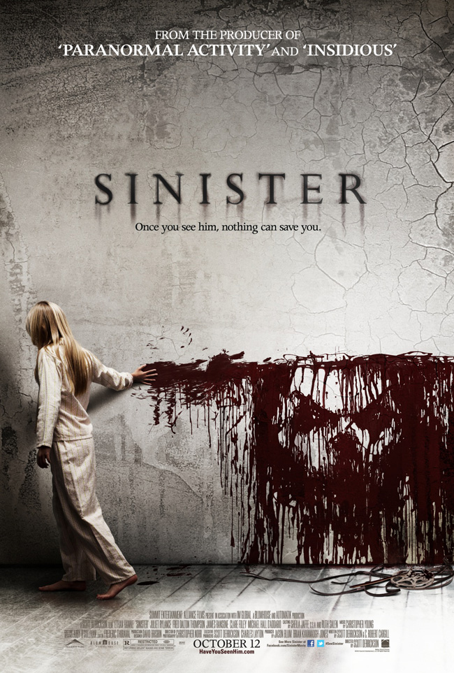 The movie poster for Sinister from producer of Paranormal Activity and Insidious