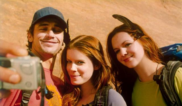 Left to right: James Franco, Kate Mara and Amber Tamblyn in 127 Hours