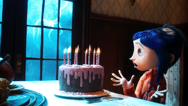 Coraline (voiced by Dakota Fanning) gets a surprise in the stop-motion animated 3-D adventure Coraline, from LAIKA Entertainment for release by Focus Features.