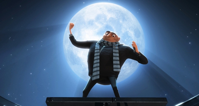 Gru (Steve Carell) tells his minions about their new mission to steal the moon.