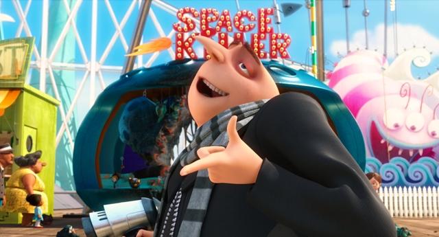 Gru (Steve Carell) enjoys an amusement park.