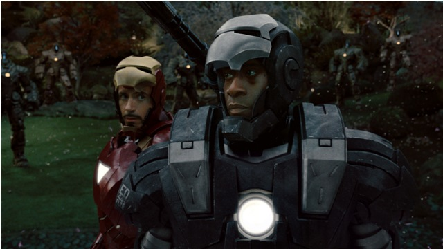 Robert Downey Jr. and Don Cheadle in Iron Man 2