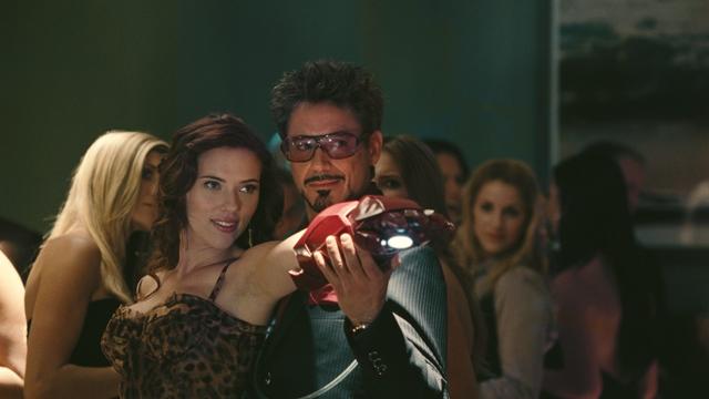 Scarlett Johansson and Robert Downey Jr. in Iron Man 2