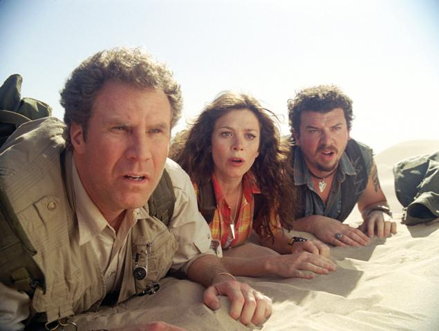 (L to R) Has-been scientist Dr. Rick Marshall (Will Ferrell), research assistant Holly (Anna Friel) and redneck survivalist Will (Danny McBride) arrive at a place of spectacular sights and super-scaled comedy known as the Land of the Lost.
