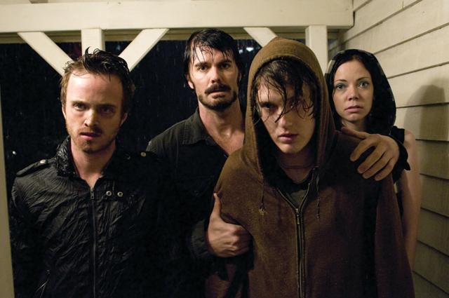 (L to R) Francis (Aaron Paul), Krug (Garret Dillahunt), Justin (Spencer Treat Clark) and Sadie (Riki Lindhome) knock on the door.