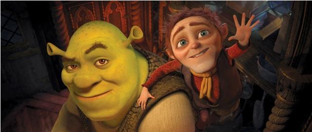 Shrek (Mike Myers) and His New Nemesis, Rumplestiltskin (Walt Dohrn).