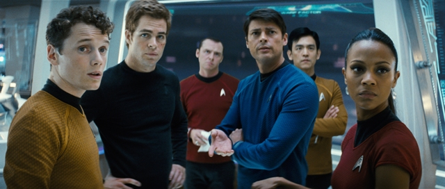 "Chekov (Anton Yelchin), James T. Kirk (Chris Pine), Scotty (Simon Pegg), Bones (Karl Urban), Sulu (John Cho), and Uhura (Zoë Saldana) in ""Star Trek."""