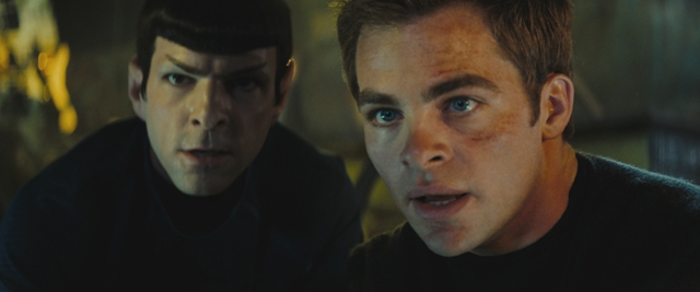 "Spock (Zachary Quinto, left) and James T. Kirk (Chris Pine, right) in ""Star Trek."""
