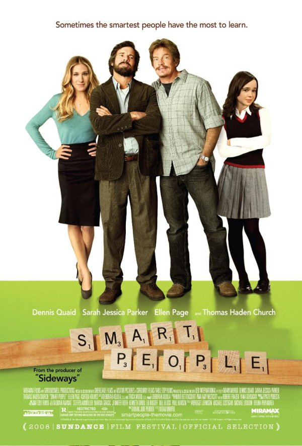Movie poster for Smart People with Ellen Page, Dennis Quaid, Thomas Haden Church and Sarah Jessica Parker