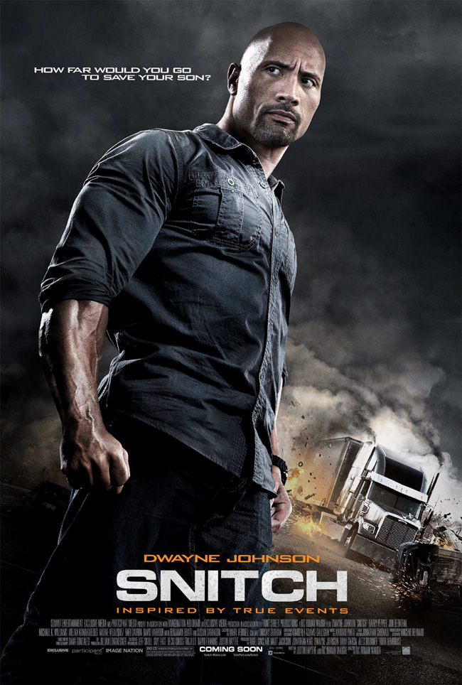 The movie poster for Snitch with Dwayne Johnson and Susan Sarandon