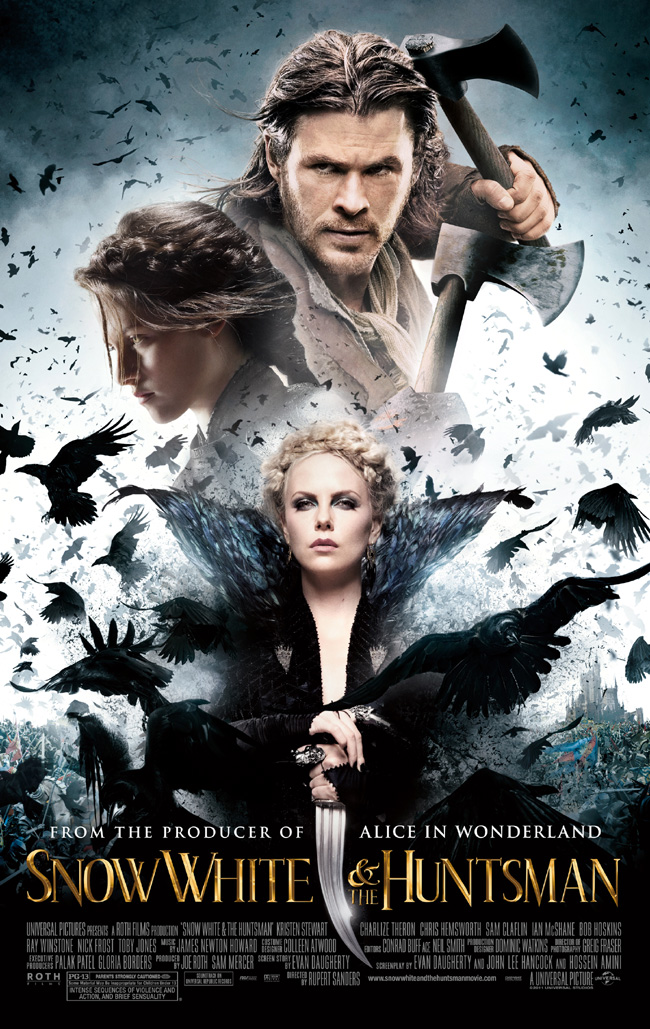 The Snow White and the Huntsman movie poster with Charlize Theron and Kristen Stewart
