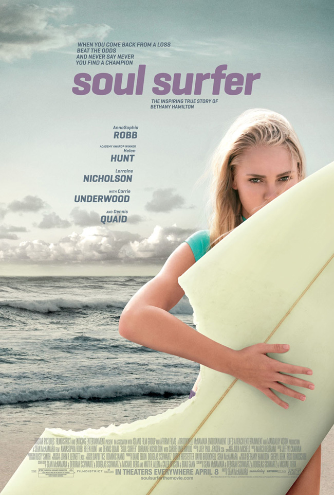 The movie poster for Soul Surfer with Carrie Underwood, Dennis Quaid and Helen Hunt
