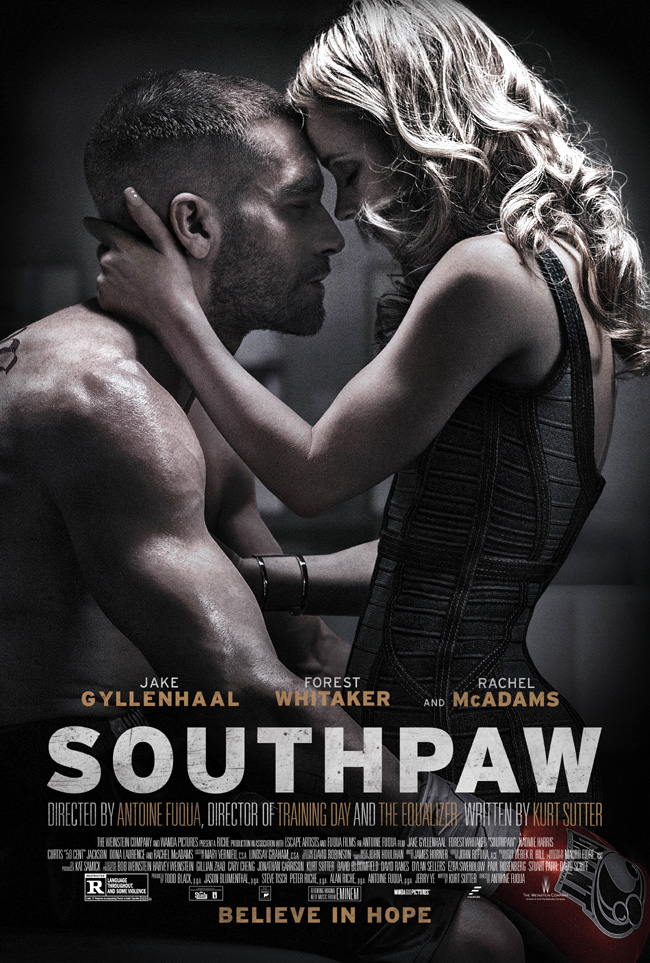 The movie poster for Southpaw with Jake Gyllenhaal and Rachel McAdams