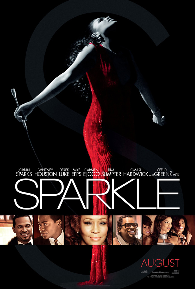 The Sparkle movie poster with Whitney Houston, Jordin Sparks and Cee Lo Green