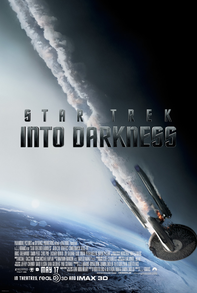 The movie poster for Star Trek Into Darkness starring Chris Pine and and Zachary Quinto from J.J. Abrams