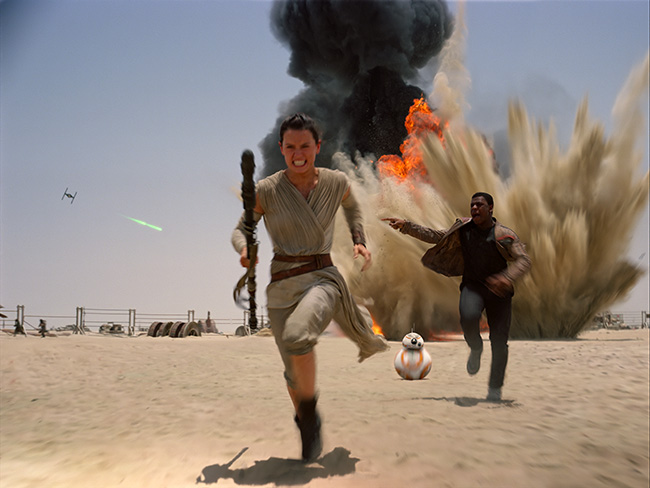 Daisy Ridley and John Boyega in Star Wars: Episode VII - The Force Awakens