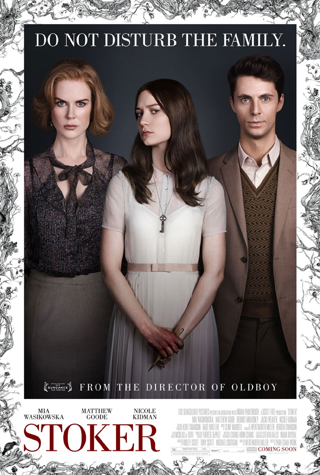 The movie poster for Stoker starring Nicole Kidman and Mia Wasikowska