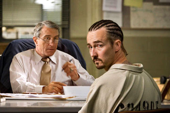 Edward Norton (right) and Robert De Niro in Stone