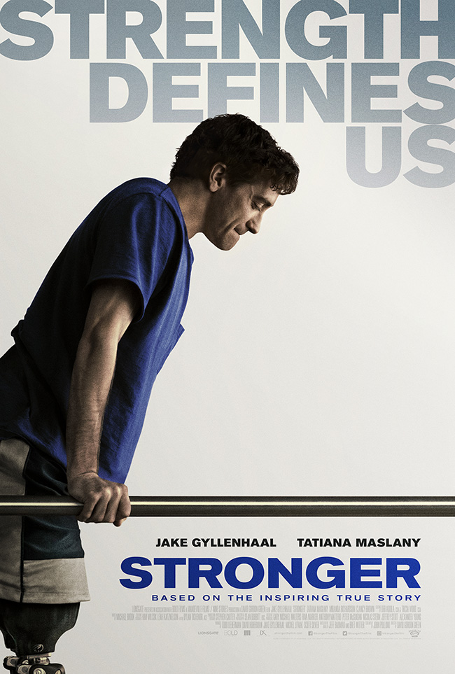 The movie poster for Stronger starring Jake Gyllenhaal and Tatiana Maslany