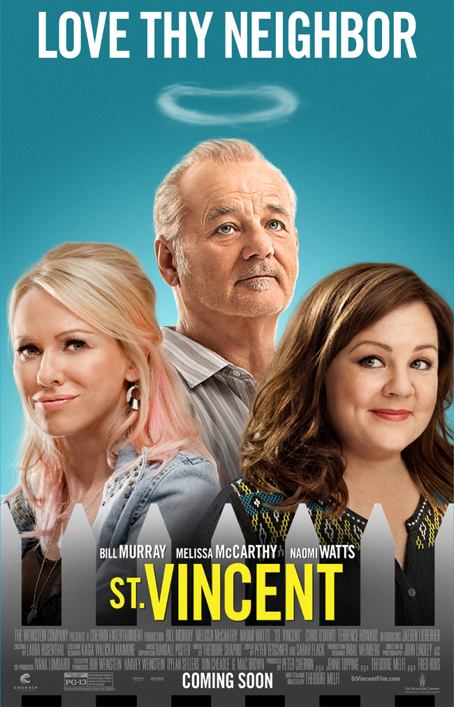 The movie poster for St. Vincent starring Bill Murray and Melissa McCarthy